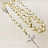 ハートビーズ(白) 十字架ロザリオ