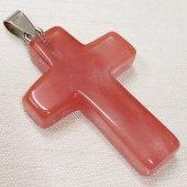 【チェリークォーツ】天然石 十字架 ネックレストップ