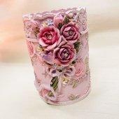 《ロココ調》花柄ペン立て ペンスタンド/ピンク