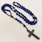 天然石ラピスラズリ×ヘマタイト 十字架ロザリオ