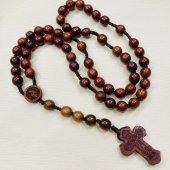 木製 丸珠 十字架ロザリオ