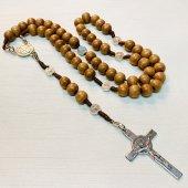紐編み 木製 ベネディクト十字架ロザリオ