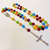 ハンドメイド マーブルストーン 十字架ロザリオ