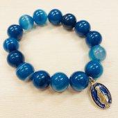 藍紋メノウ12mm メダイ付きブレスレット