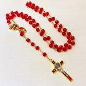 ベネディクト メダイ付き 十字架ロザリオ(赤×ゴールド)