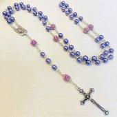 パープルローズ ルルドのマリア 十字架ロザリオ