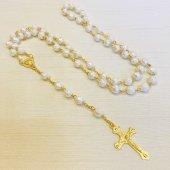 ホワイトローズ 十字架ロザリオ