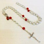 レッドローズ ルルドのマリア メダイ付き十字架ロザリオ