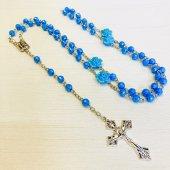 ブルー フラワービーズ ルルドのマリア 十字架ロザリオ