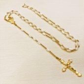 ハンドメイド マザーオブパール 十字架ロザリオ