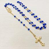 ハンドメイド スワロフスキー 十字架ロザリオ/ブルー