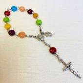 ハンドメイド 十字架 ミニロザリオ/巾着つき