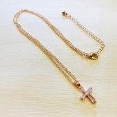 シンプル 十字架ネックレス/ピンクゴールドカラー