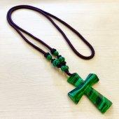 マラカイト 十字架ネックレス/B