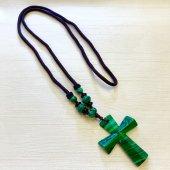マラカイト 十字架ネックレス/D
