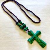 マラカイト 十字架ネックレス/F