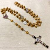 木製 ベネディクト 十字架ロザリオ