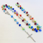 マーブル柄カットビーズ 十字架ロザリオ