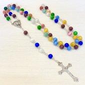 カラフルストーンビーズ 十字架ロザリオ
