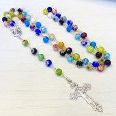 ベネチアガラス フラワービーズ 十字架ロザリオ