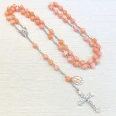 マーブルサンゴ メダイつき 十字架ロザリオ