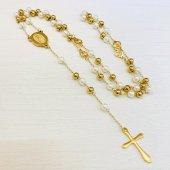 ゴールド×パールカラー 十字架ハートロザリオ