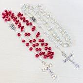 ルルドのマリアメダイ 十字架ロザリオ 赤×白 2本セット