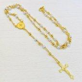 ゴールド×パールカラー ベネディクト 十字架ロザリオ
