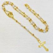 パールビーズ 十字架ロザリオ