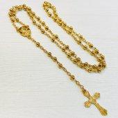 ゴールドカラービーズ 十字架ロザリオ