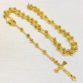 ゴールドビーズ シンプル十字架ロザリオ