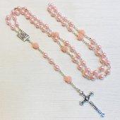ピンクローズ ルルドのマリア 十字架ロザリオ