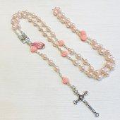 ピンクローズ ルルドのマリア メダイつき十字架ロザリオ