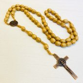 ベネディクト 紐編み 木製十字架ロザリオ
