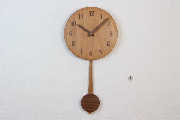 木の振り子時計 直径24cm Wa24AUF-07