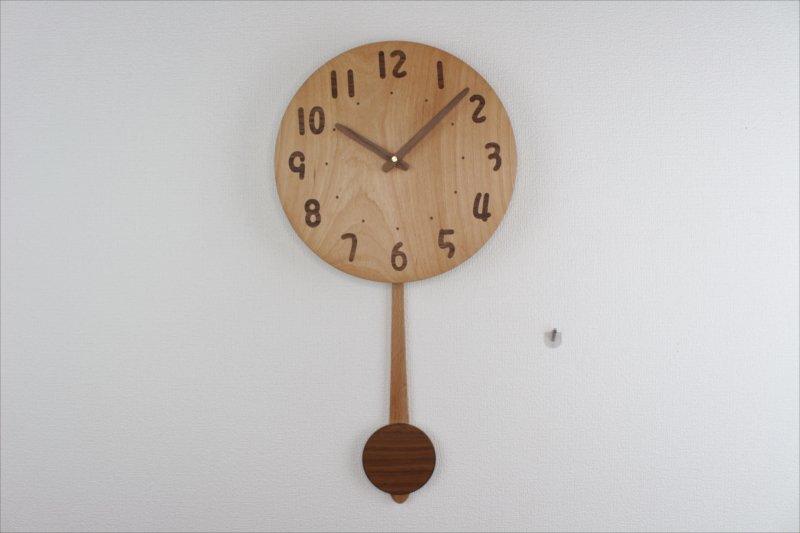 木の振り子時計 直径27cm Wa27AUF-02