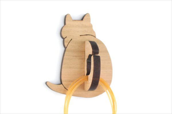 茶ネコの輪ゴムホルダー
