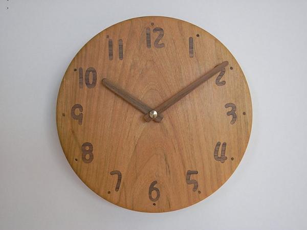木の電波時計 直径22cm Wa22AU-02