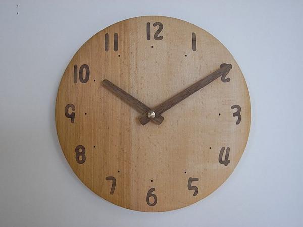 木の電波時計 直径24cm Wa24AU-05