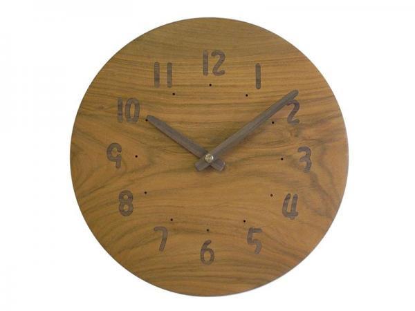 木の電波時計 直径25cm Wa25AU-08d
