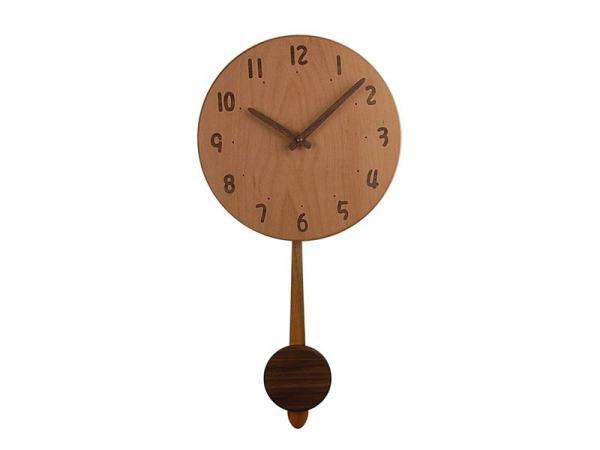 木の振り子時計 直径24cm Wa24AUF-02