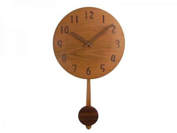木の振り子時計 直径30cm Wa30AUF-01