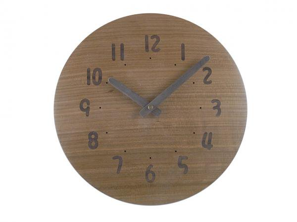 木の電波時計 直径25cm Wa25AU-17d