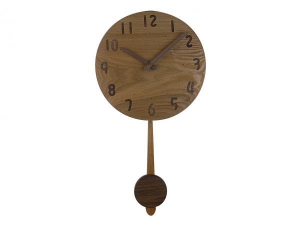 木の振り子時計 直径28cm Wa28AUF-02