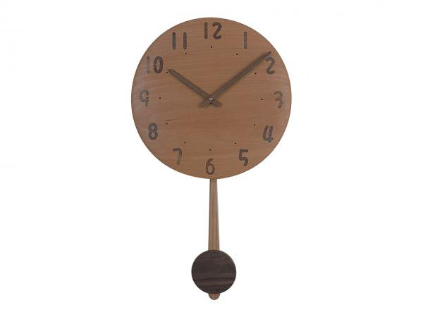 木の振り子時計 直径30cm Wa30AUF-07