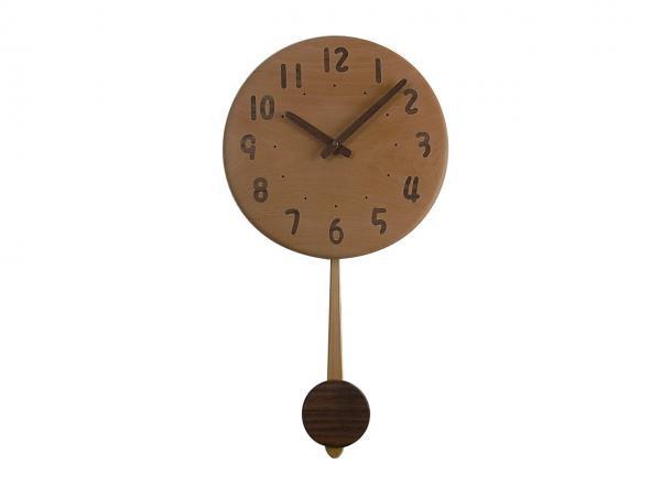 木の振り子時計 直径28cm Wa28AUF-04