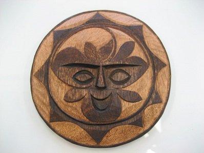 ハンドメイド 木製飾り太陽のマーク