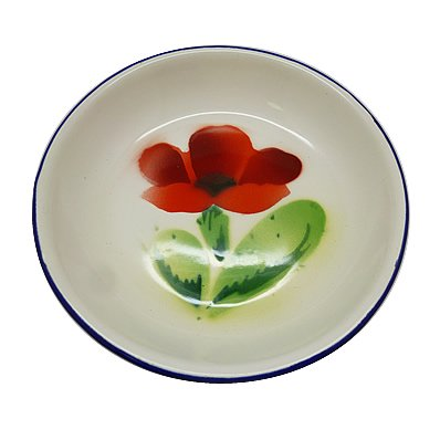 皿 赤い花 一輪