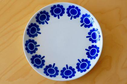 ARABIA アラビア ステンシル Miranda ミランダ プレート (お花×ブルー)26cm