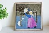アラビア ヘルヤ 陶板画(ウォールプレート)少女とウサギ